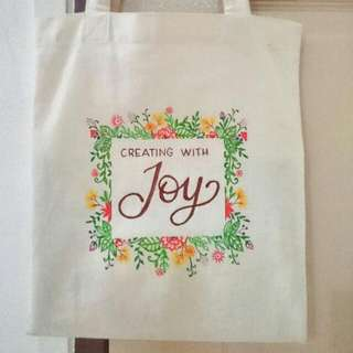 Customised Canvas Bag/Tote Bag With Hand Drawn Floral Border Design and Name, Perfect For Give Aways, Birthday Parties Gifts, Wedding Favors, Party Favours