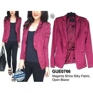 GUESS Magenta Shine Silky Fabric Open Blazer