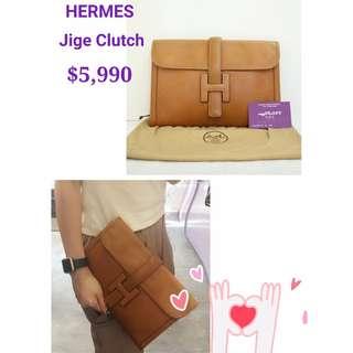 75% New HERMES Vintage Jige Clutch 啡色 H扣 皮革 手袋 晚宴包 手拿包 Brown Leather with H Logo