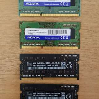 SK Hynix and Adata DDR3L Ram 4 x 4Gb