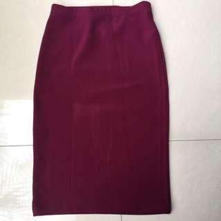 maroon midi skirt by forever21