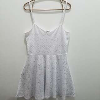 Topshop White Lace Printed Strappy & Backless Dress - EUR 40 US 8 UK 12