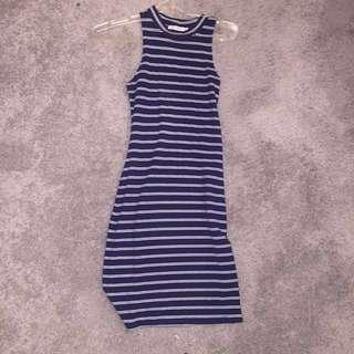 Universal store tight striped navy dress