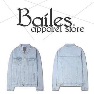貝里斯Bailes【AO017】日韓版 / 男女款 基本款素面淺色水洗百搭經典設計牛仔質感外套