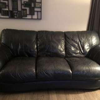 Leather Sofa -  Navy