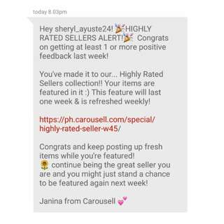 High Rated Seller Again!  6 times in a row. Thank you Carousell!