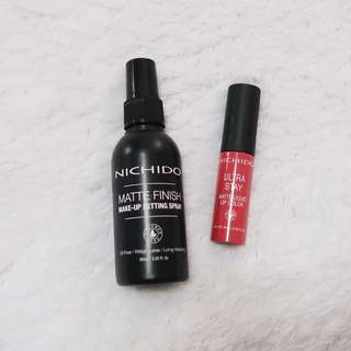 NICHIDO MAKEUP SPRAY AND NICHIDO LIP COLOR (Chill Pill)