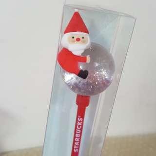 2017 韓國 Starbucks 星巴克 聖誕版 Christmas 現貨 聖誕老人 禮物 攪攪棒 水晶球 21cm #sellmy1111