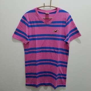 Hollister Pink & Blue Stripes Tee - Size M