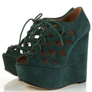 Topshop Lace Up Cut Out Cage Wedges