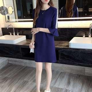 Blue Shoulder Drop Sleeves Dress