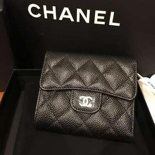 真品 Chanel 香奈兒 經典短夾 黑色 粒紋牛皮 荔枝皮 金釦 現貨
