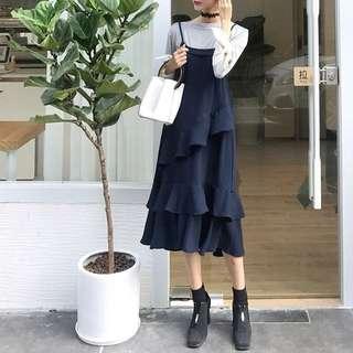 《早·衣服》1111網購節🛍街拍混搭層層疊疊荷葉邊設計款寬鬆吊帶裙背帶裙背心裙(預)