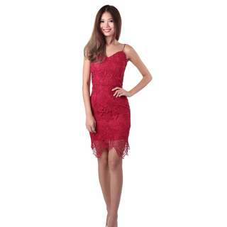 MGP Label - BNWT Savannah Crochet Dress in Burgundy Red