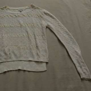 colorbox cream laced knit sweater