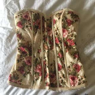 Vintage floral corset with back detail Size 8 from ICE
