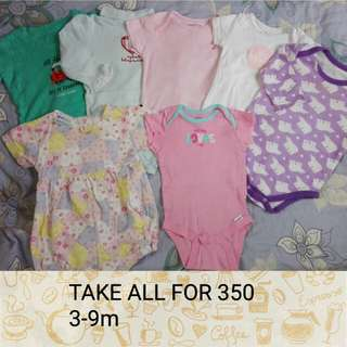 Take all onesies / rompers 3-9m