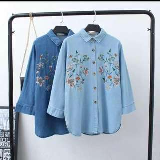 Embroidered Denim Long sleeves