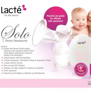 Lacte Solo Single Electric Breast Pump (one and half month old, very good condition)