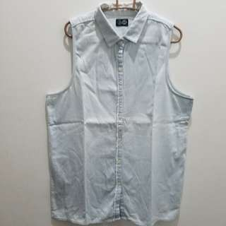 Cheap Monday Sleeveless Light Denim Oversized Polo Shirt - Size M