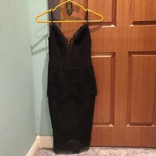 Sheike black lace dress size 6