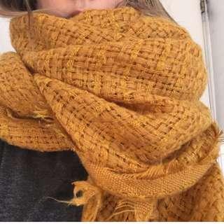 Mustard knit blanket scarf- Zara