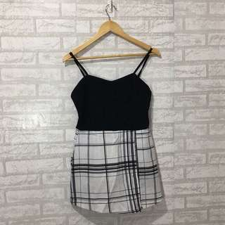 Black & White Plaid Jumper Skort