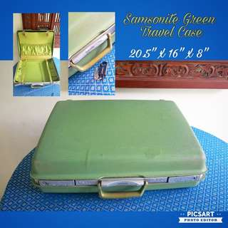 1960-70s Vintage SAMSONITE Bright Green Travel Case or Luggage. Comes with Key.  Good Condition. $35 Clearance Offer. Sms 96337309 for Fast Deal.
