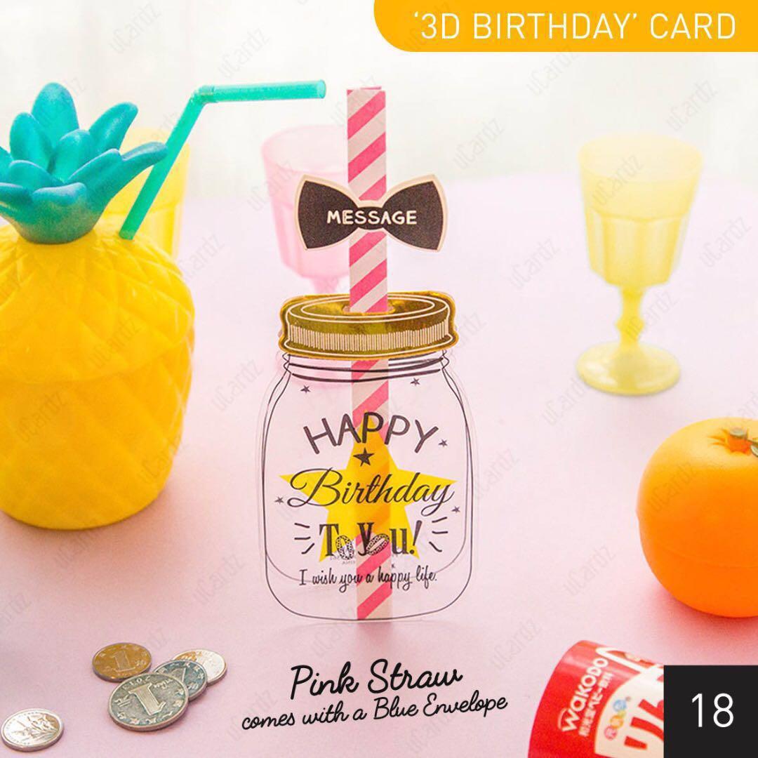 360 Card 3D Mason Jar Straw Birthday Greeting Diecut With
