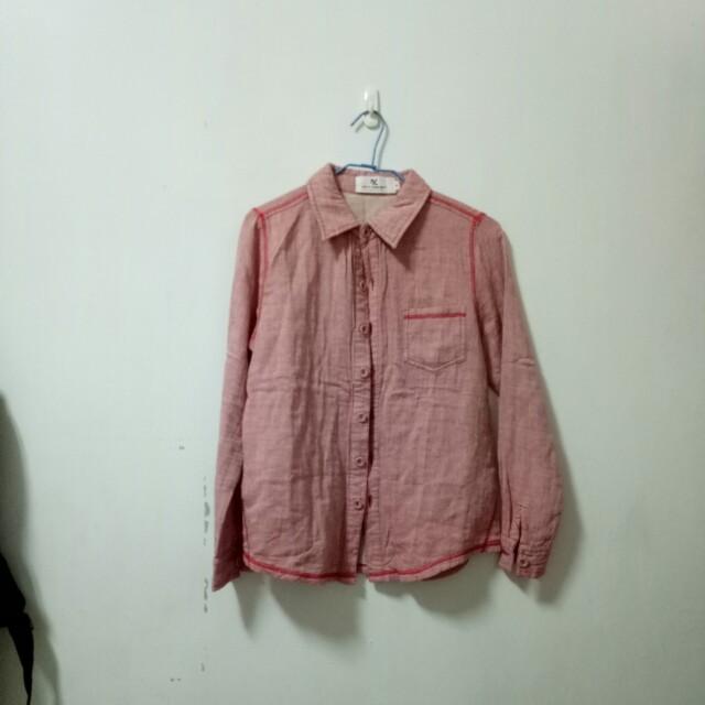 復古外縫線裸色深粉色50%襯衫