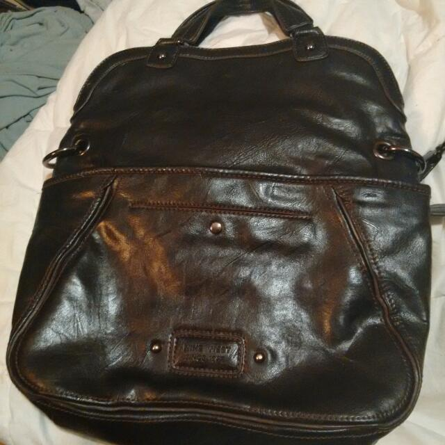9 West 2-in 1 Black Leather Bag