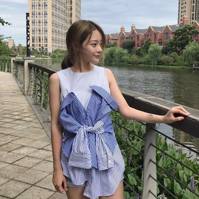 韓版寬鬆露肩條纹拼接假兩件休閒短袖上衣