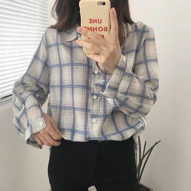 薄款翻領排扣格子襯衫