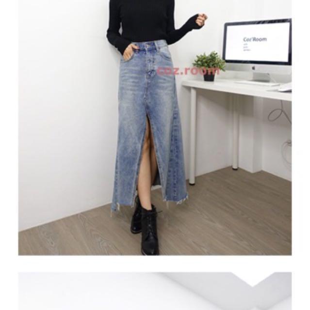 正韓-高磅數開衩牛仔長裙