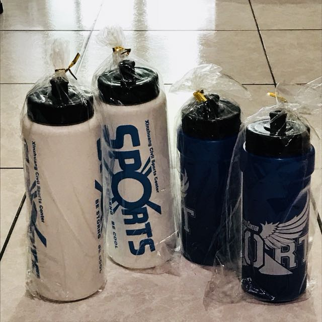 全新造型運動水壺白色/藍色