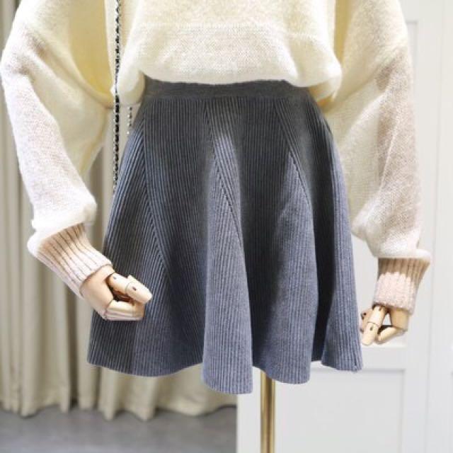 (代購)高腰螺紋傘狀短裙 針織裙