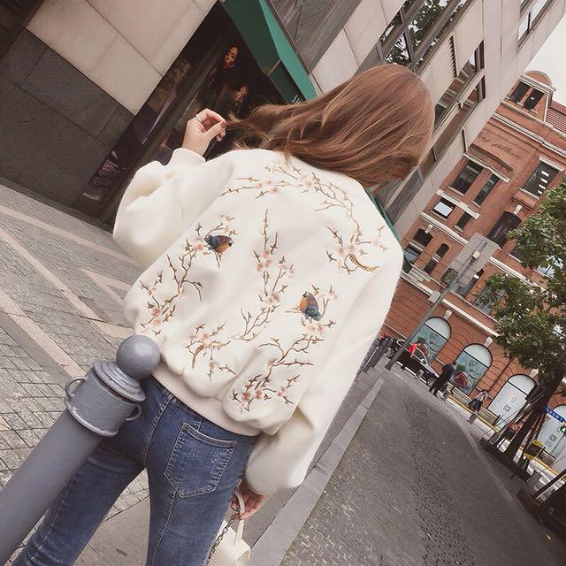 韓版 刺繡 海馬毛 短版 棒球 外套