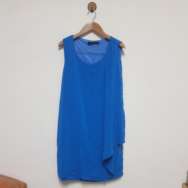 女神款 寶藍色無袖雪紡短洋裝 M