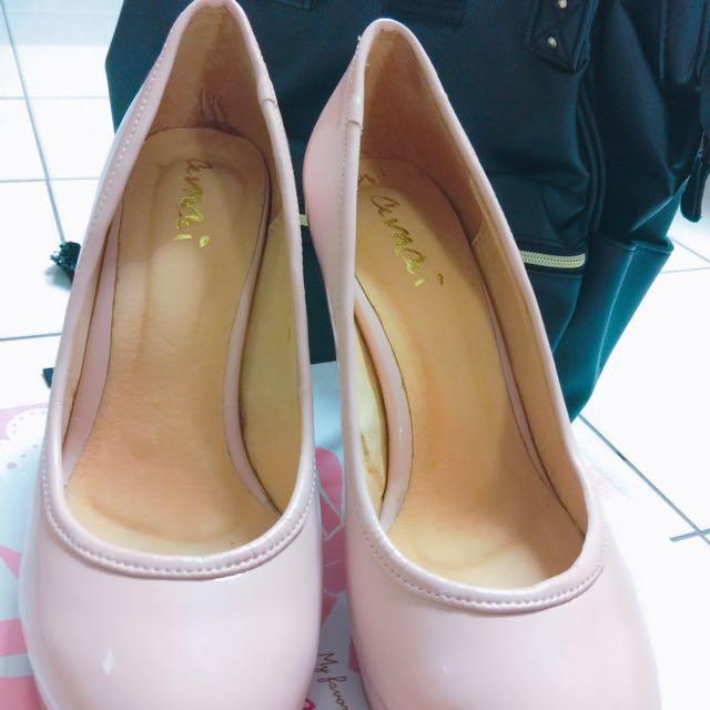 轉 Amai 粉色 皮質 高跟鞋 尺寸 40 41