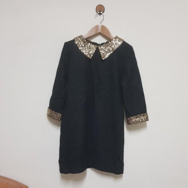 品牌 cherry dress 金色亮片領七分袖黑色短洋裝S