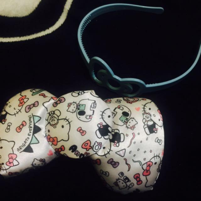 Authentic hello kitty headband & ribbon ponytail