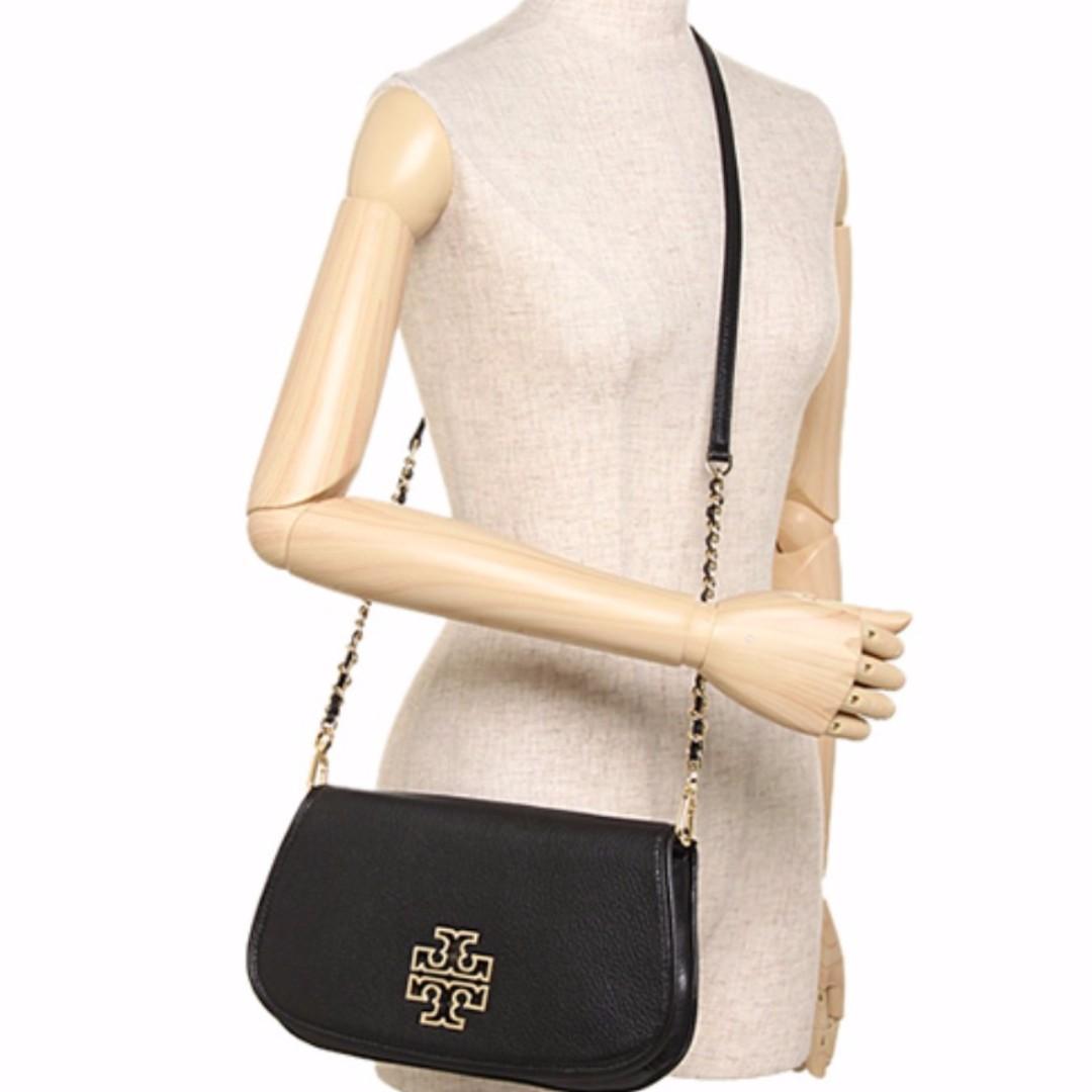 04428e3399a5 Authentic Tory Burch 31149537 Britten Leather Chain Clutch Crossbody Mini  Bag