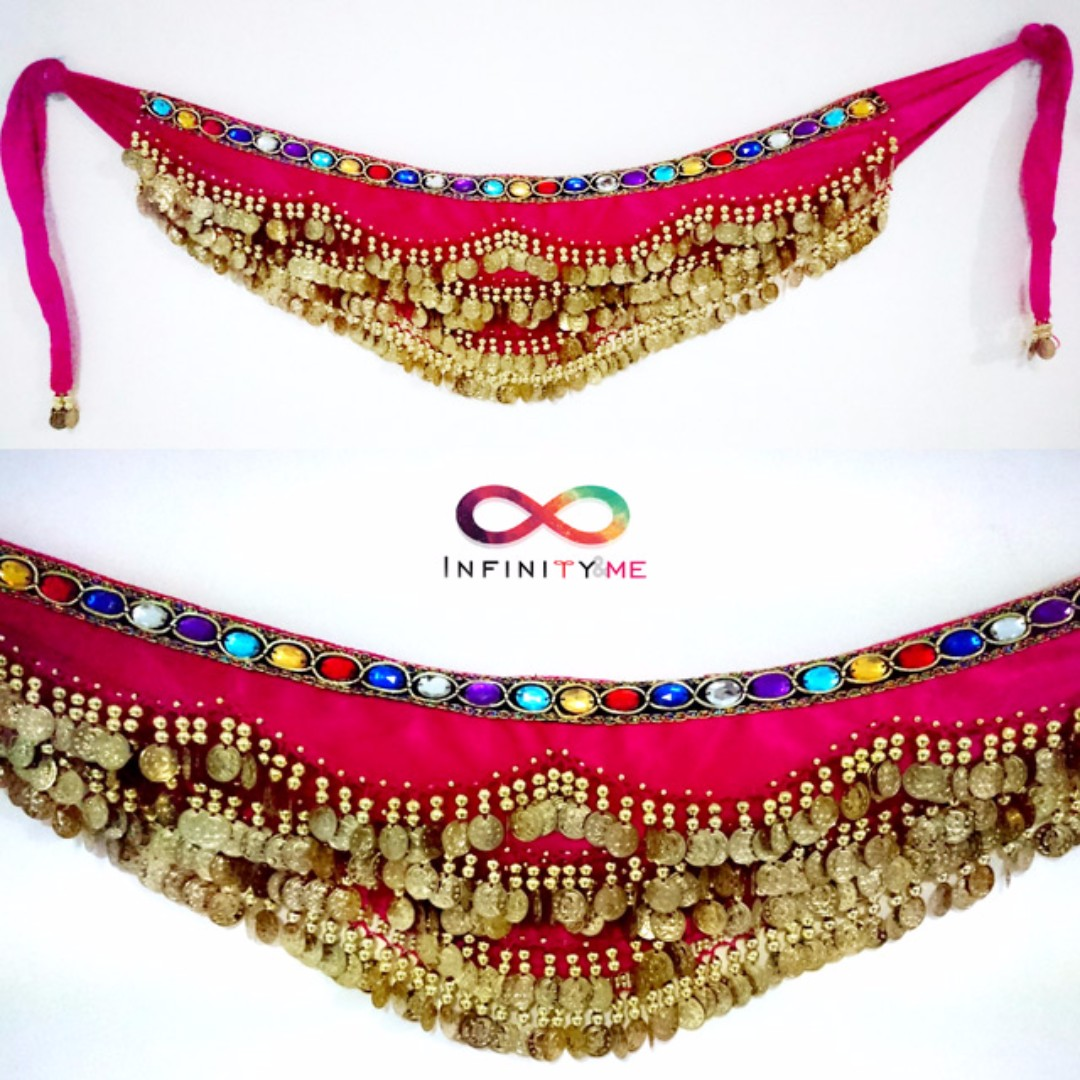 Belly Dance Velvet Hip Scarf with Gold Coins Band & Gemstone Hip Belt - Dark Pink with about 300 gold coins