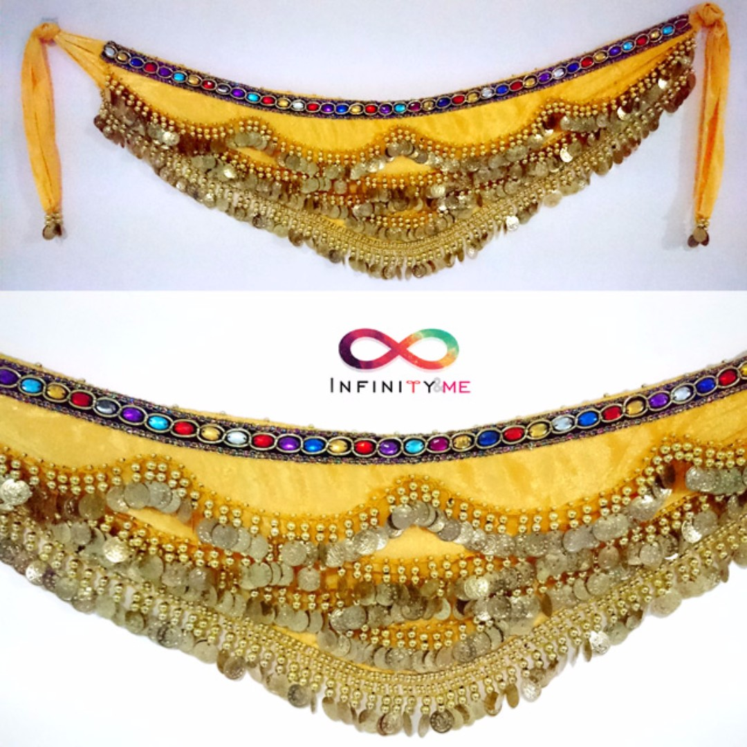 Belly Dance Velvet Hip Scarf with Gold Coins Band & Gemstone Hip Belt - Yellow with about 300 gold coins