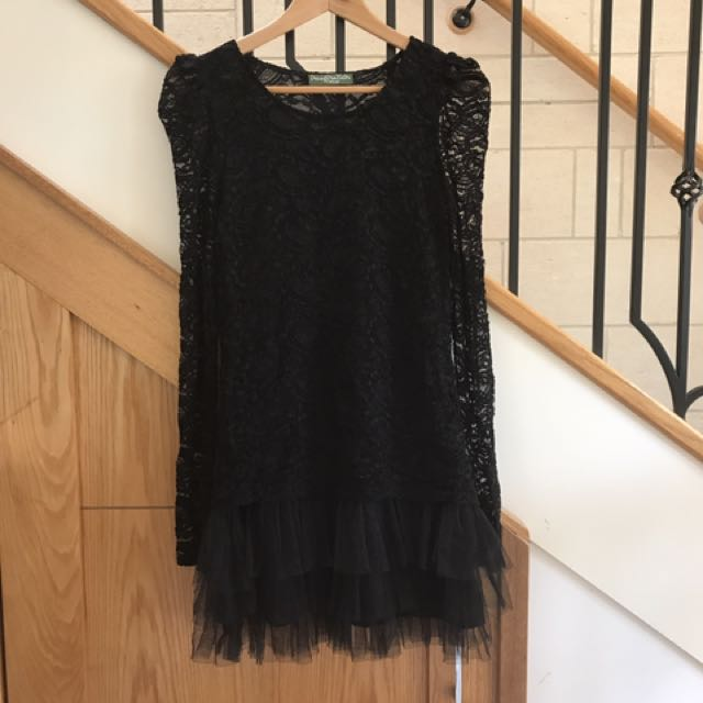 Black lace mini dress sz8