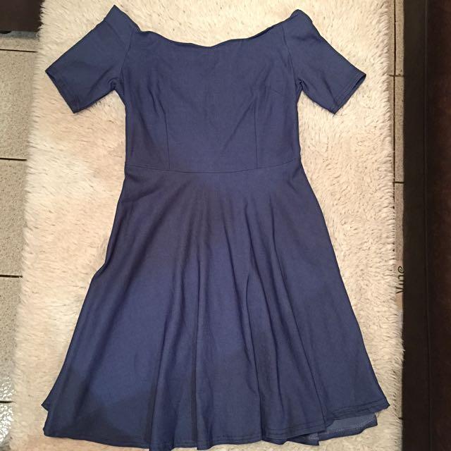Boat shoulder Mini-Dress