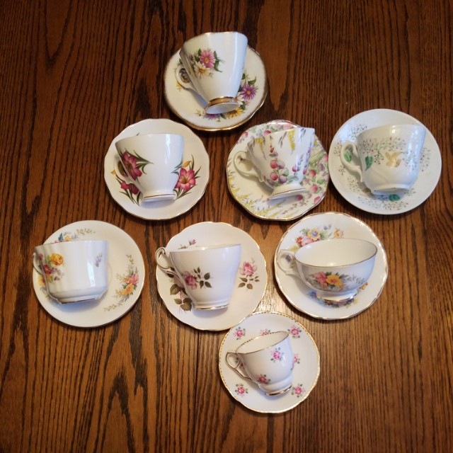 Bone China Teacups and Saucers (eight)