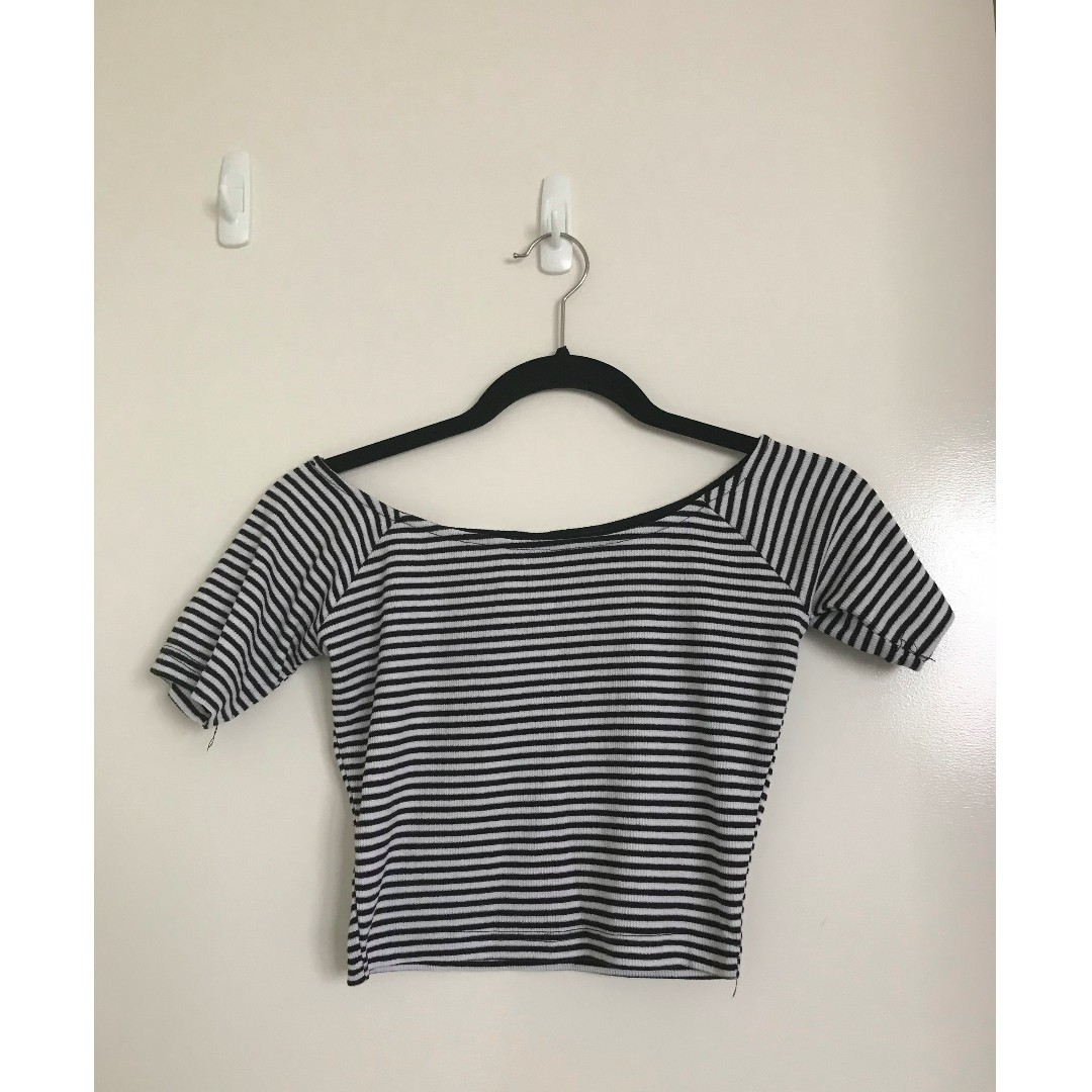 Brand New Cotton On Stripe Off Shoulder Rib Crop Black And White Top Size Small