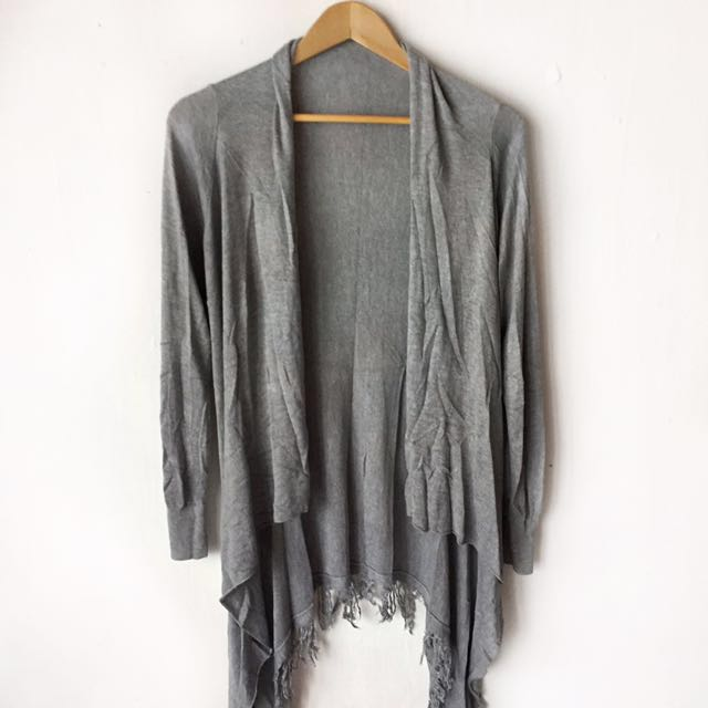 Brand new gray knitted cardigan with fringe