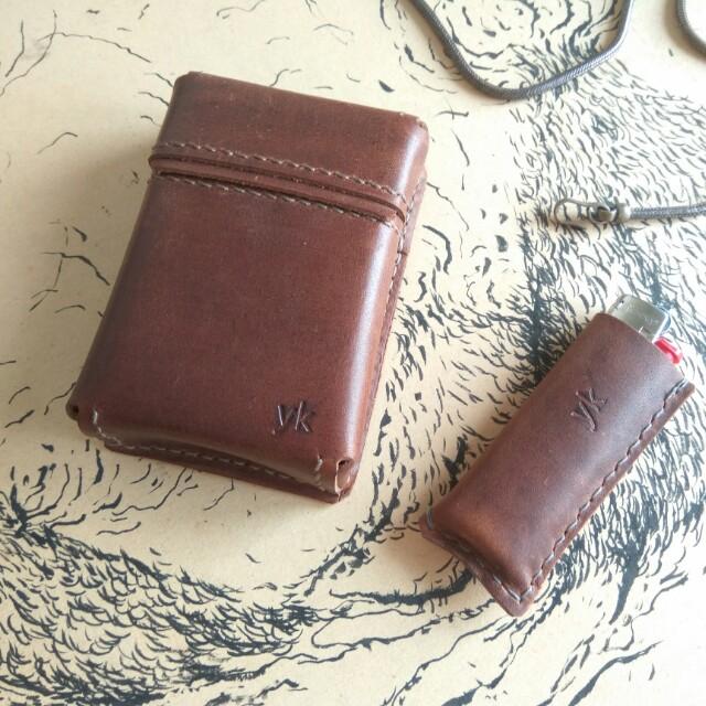 Customize Leather Cigarette & Lighter Case